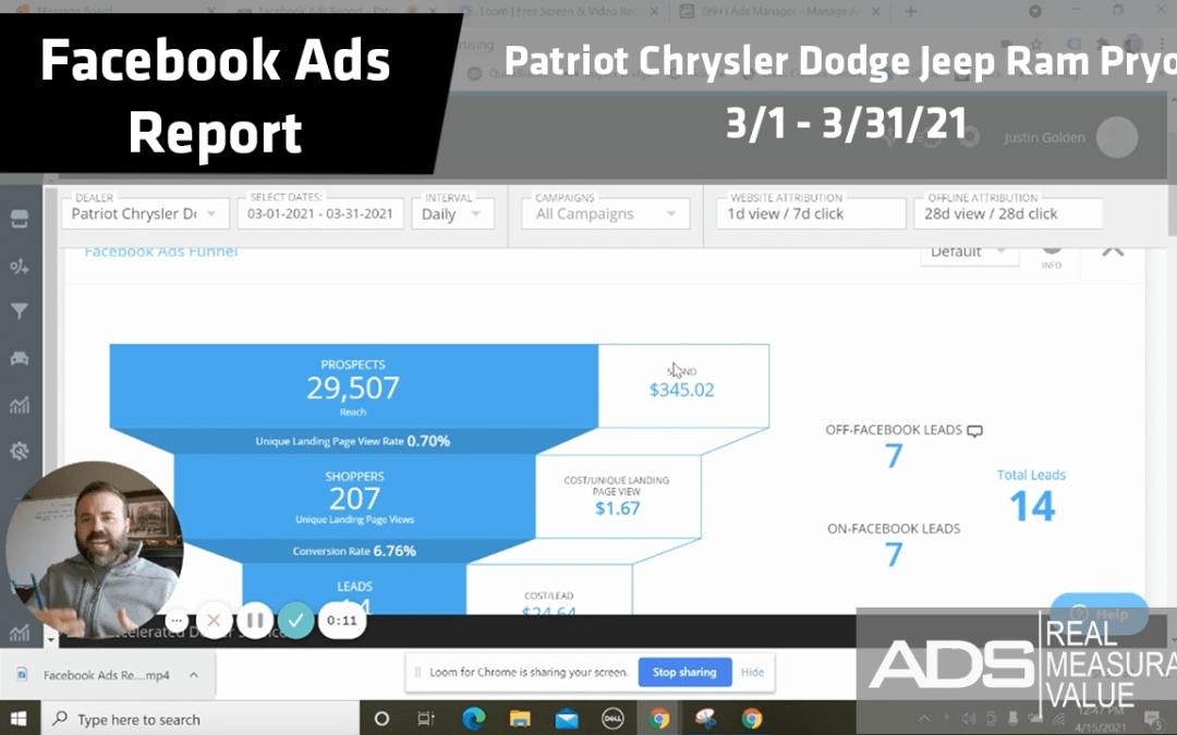 Facebook Ads Success Report – Patriot Chrysler Dodge Jeep Ram Pryor – March 2021