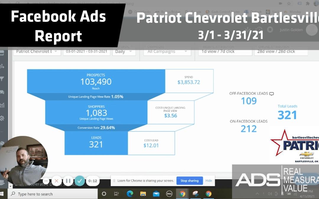Facebook Ads Success Report – Patriot Chevrolet Bartlesville – March 2021