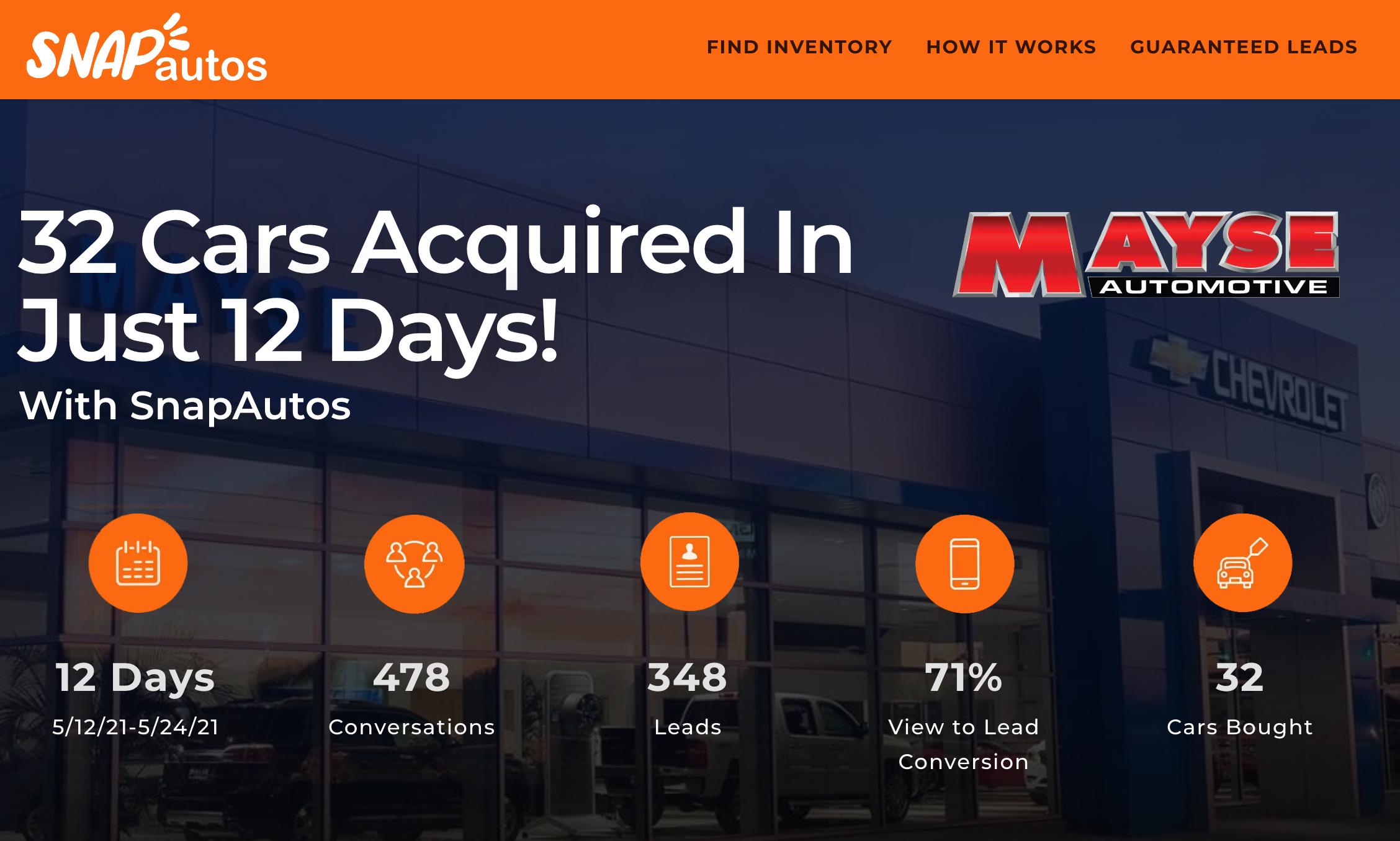 mayse automotive success with snapautos