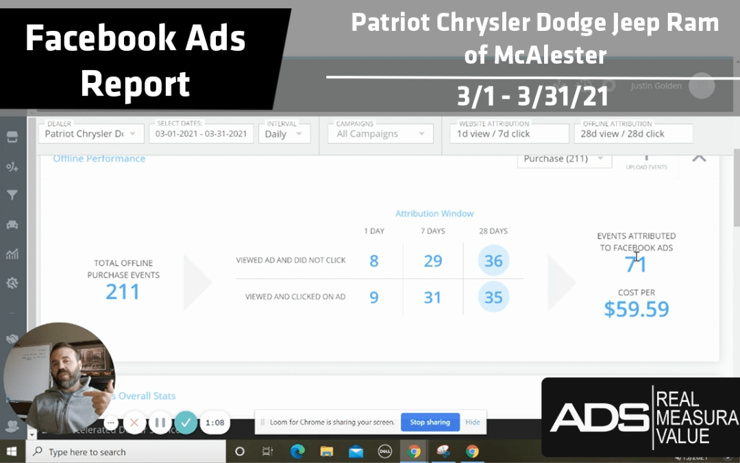Facebook Ads Success Report – Patriot Chrysler Dodge Jeep RAM of McAlester – March 2021