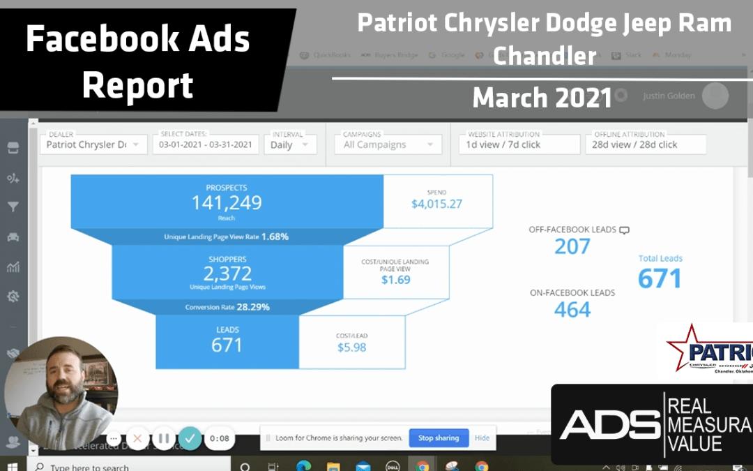 Facebook Ads Success Report – Patriot Chrysler Dodge Jeep RAM of Chandler – March 2021