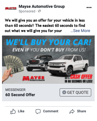 Mayse Facebook Ad