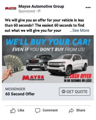 auto dealer facebook ad